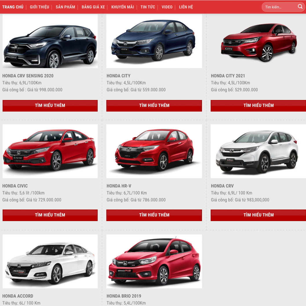 Mẫu web ô tô Honda