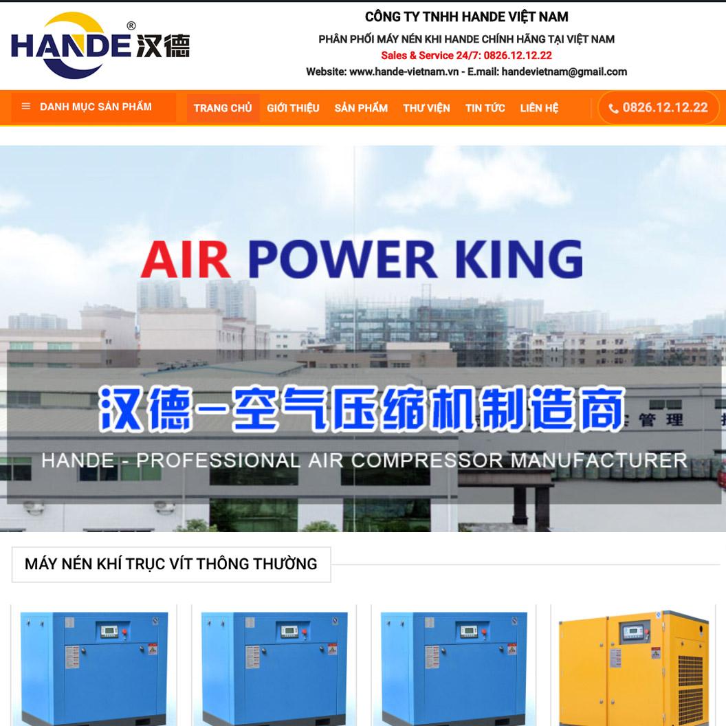 Giao diện website máy nén khí