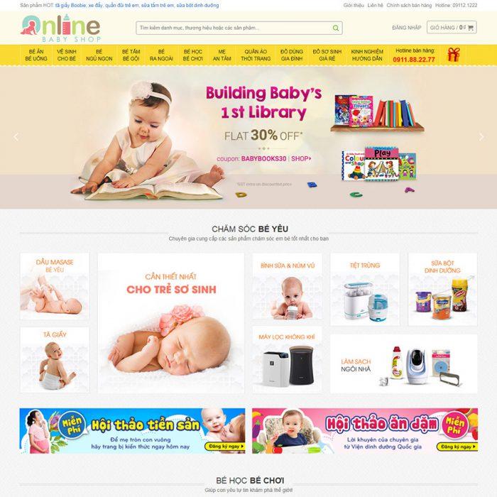mẫu landingpage shop mẹ và bé